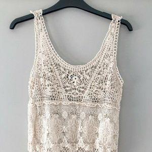 American Eagle Ivory Lace Crochet Tank Top